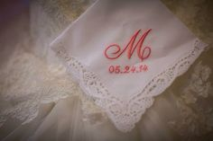 Gift from Matron of honor to the bride! Monogrammed handkerchief with wedding date! | lace | coral wedding | Milstead wedding | southern