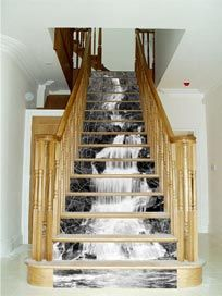 Decorating Stair risers | Imagine the illusion of a waterfall coming down your steps! With laser ...