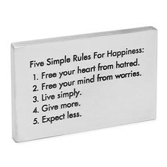Look what I found at UncommonGoods: Five Rules for Happiness Paperweight for $36 #uncommongoods
