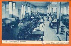 Escuelas Salesianas de Sarrià. Postal nº 33 Taller de impresores.