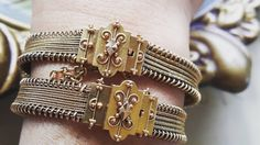 """""""Victorian wedding bracelets in solid gold. I just love their wedding bracelets.  This is from my personal collection. A gift for my birthday.…"""""""