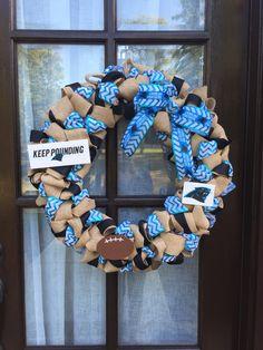 Carolina Panthers football burlap wreath. Perfect fall front door decor!