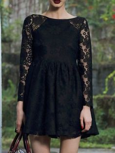 Shop Black Floral Pattern Sheer Lace Long Sleeve Mini Dress from choies.com .Free shipping Worldwide.$21.11