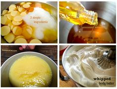 DIY Whipped Body Butter. Ingredients: 1 cup of cocoa butter –  1/2 cup coconut oil - 1/2 cup of jojoba oil or other liquid oil (almond or a mild olive would work great too). Decadent!