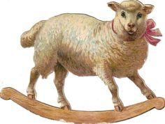 Victorian Scrap Little Lamb Rocking Horse Die Cut c1880