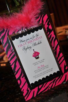 Pink Zebra Birthday Invitation Pink and Black by trendytreasure, $4.00
