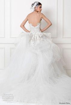 maison yeya 2017 bridal strapless sweetheart neckline full embellishment peplum a  line overskirt elegant glamorous sheath wedding dress royal train (6) bv
