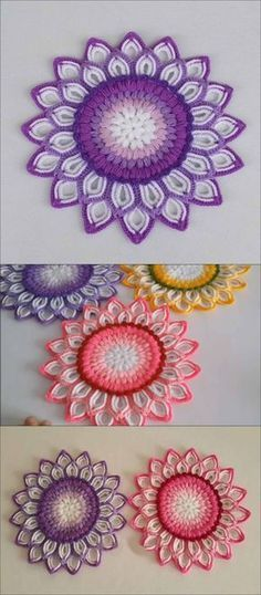 Crochet Patterns Tutorial Moon Flower Mandala - Lots of ways you can use this crochet pattern in your home.Moon Flower Mandala - Turkish video tutorial by Suzan Hobi. I slowed it to half speed so I could see what she's doing better.Moon Flower Mandala - M Crochet Mandala Pattern, Crochet Motifs, Crochet Flower Patterns, Doily Patterns, Crochet Designs, Crochet Stitches, Knitting Patterns, Pattern Flower, Crochet Doilies