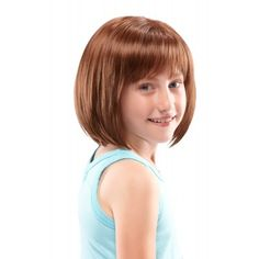 Shiloh by Jon Renau. The Shiloh by Jon Renau is an ultra lightweight, shoulder length bob that features a double-layered monofilament part, creating the appearance of natural hair growth. This simple style is a childhood classic. Kids Short Haircuts, Little Girl Haircuts, Haircuts With Bangs, Bob Haircuts, Trendy Haircuts, Girl Short Hair, Short Hair Cuts, Childrens Wigs, Curly Hair Styles