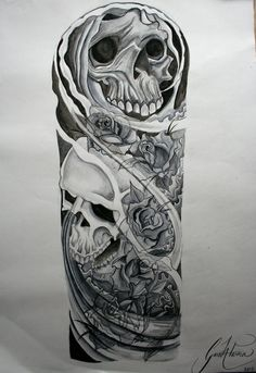 Skull and roses Sleeve Tattoo Designs | Skulls and roses tattoo sleeve watercolour by ~GazFarmerArt on ...
