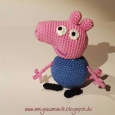Wonderful Amigurumi World: Schorsch Wutz (George Pig) free pattern (s) Plushie Patterns, Crochet Animal Patterns, Stuffed Animal Patterns, Crochet Patterns Amigurumi, Crochet Toys, Free Crochet, Knit Crochet, Single Crochet Stitch, Basic Crochet Stitches