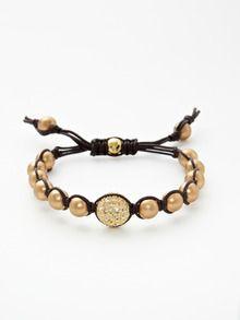Tai Jewelry  Brass & Crystal Bead Bracelet  $58 Gilt
