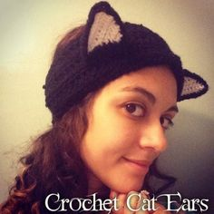 Free crochet pattern on how to crochet a cat ears headband or a cat ears hat two different ways.  Also included is directions to make a crochet bow to make a Hello Kitty hat or headband.