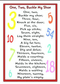 Two Buckle My Shoe Rhyme MoreOne Two Buckle My Shoe Rhyme More Asking and Giving Directions in English Twenty September Poems and Songs I chose this N. Rhyming Preschool, Nursery Rhymes Preschool, Rhyming Activities, Preschool Music, Number Songs Preschool, Childcare Activities, Therapy Activities, Baby Songs, Fun Songs