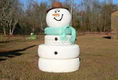I never would have thought of doing this with old tires, but it is TOO darn cute! is part of Snowman crafts With Tires - HA! I never would have thought of doing this with old tires, but it is TOO darn cute! Sock Snowman, Cute Snowman, Snowman Crafts, Snowmen, Snowman Party, Christmas Projects, Christmas Crafts, Christmas Ideas, Snowman