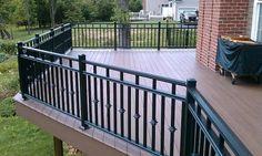 NJ Aluminum Deck Railing - My Deck - Deck Railing Designs. >>> Find out more at the image link Composite Deck Railing, Metal Deck Railing, Patio Railing, Balcony Railing Design, Pergola, Railing Ideas, Aluminum Decking, Aluminum Railings, Decks And Porches