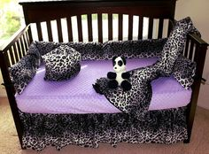 Snow Leopard Crib Bedding Set by SewCustomCorporation on Etsy. So cute.