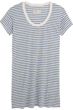 Current/Elliott - The Slouchy Striped Jersey Mini Dress - Sky blue -
