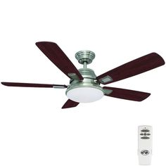 Hampton Bay Latham 52 in. Indoor Brushed Nickel Ceiling Fan with Light Kit and Remote Control, can have multiple fans/remotes