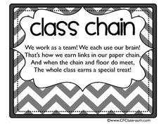 Cool classroom management idea! PAPER CHAIN PACKET - WHOLE CLASS BEHAVIOR MANAGEMENT IDEA