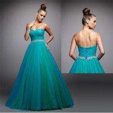 teal blue green strapless Bridal Bridesmaid Gown Prom Ball Evening Dress custom