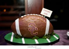 USC Trojans Football Cake. It's CAKE! Groom's cake. (Joshua Aull Photography)
