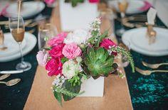 succulent glitter centerpieces pink emerald wedding inspiration