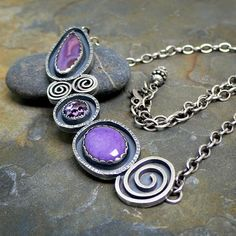Sterling Silver Necklace with Laguna Agate Purple Charoite and Amethyst Cabochons