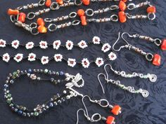 beaded necklaces, earrings, and a bracelet.