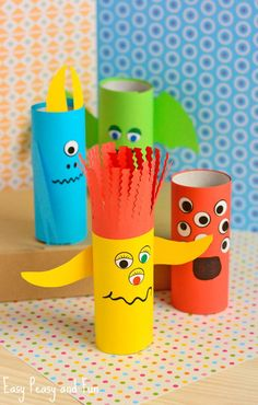 Paper Roll Monsters Halloween Crafts For Kids