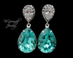 Teal Blue Bridal Earrings Sea Green Teardrop Bride Swarovski Crystal Light Turquoise Wedding Jewelry Bridesmaid Gift Something