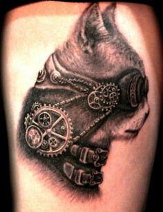 Steampunk cat black ink tattoo by Laur ZenBenZen