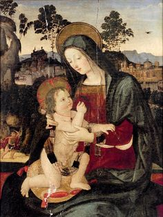 Bernardino di Betto, called Pintoricchio or Pinturicchio (1454-1513) –– Madonna and Child in a Landscape  (637x850)