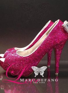 Shocking Pink peep toe heels decorated with AB crystals back,  Shoes, crystals shoes  bridal shoes  party shoes, Bohemian (Boho) / Hippie