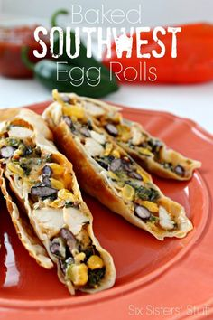 These egg rolls look so yummy! Baked Southwest egg roll recipe. :)
