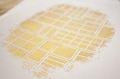 Print  Abstract Modern Wall Art  Linocut  Gold  by MarieAndElla, €20.00