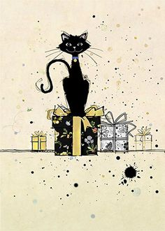Black Cat and Presents Card by Bug Art