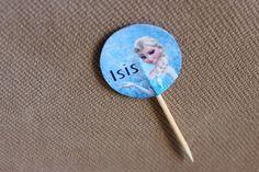 Topper para doces personalizado com o nome do aniversariante, tema Frozen Elsa. Dupla face. Para docinhos em geral.