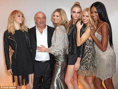 (L-R) Suki Waterhouse, Sir Phillip Green, Kate Moss, Cara Delevingne, Sienna Miller, Naomi Campbell.