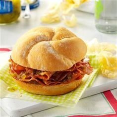 Hot Ham Sandwiches from Taste of Home.  Looks super-easy and yummy.