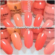 Another Spring ready shade, peach. I love this color on tan skin. L to R: Sinful Shine Mardi Gras, @chinaglazeofficial Peachy Keen, @essienailpolish_official Tart Deco, @sinfulcolorsprofessional Hazard, & Orange Cream.