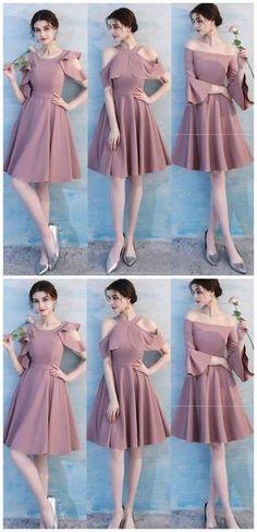 7ce0efb8e12d Unique Dusty Pink Short Mismatched Simple Cheap Bridesmaid Dresses Online,  WG511