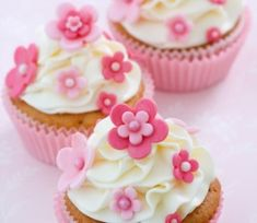 Photo about Cupcakes decorated with pink fondant flowers. Image of frosted, home, cupcakes - 12218880 Gourmet Cupcakes, Cupcake Recipes, Fondant Cupcakes, Fun Cupcakes, Cupcake Cookies, Decorate Cupcakes, Spring Cupcakes, Mocha Cupcakes, Easter Cupcakes