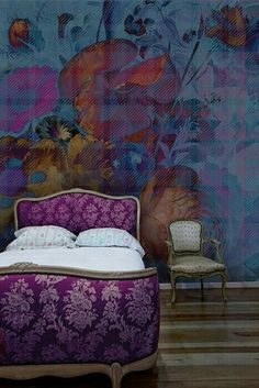 Wallpaper and bed.
