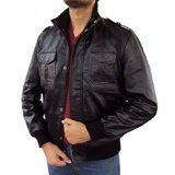 The Leather Factory Men's Lambskin Black Leather Bomber Jacket With Knitted Ribs