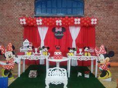Momento Mágico Decorações : Minnie Vermelha Provençal Red Minnie Mouse, Julia, Mouse Parties, 1, Birthday Cake, Names, Ideas, Minnie Mouse Decorations, Mickey Party