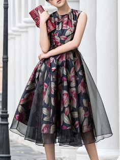 Shop Midi Dresses - Elegant Organza Paneled Sleeveless Floral Midi Dress online. Discover unique designers fashion at StyleWe.com.