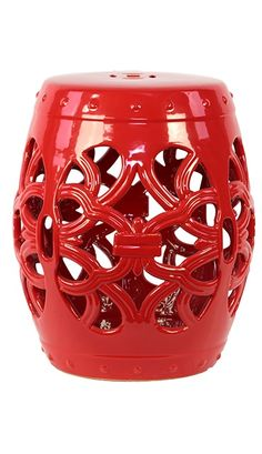 Garden Stools / Side Tables in Lipstick Red, so beautiful, one of over 3,000 limited production interior design inspirations inc, furniture, lighting, mirrors, tabletop accents and gift ideas to enjoy repin and share at InStyle Decor Beverly Hills Hollywood Luxury Home Decor enjoy happy pinning