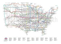 US Highway map as a subway map