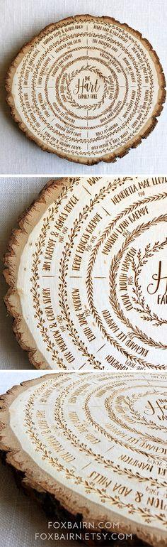 Foxbairn, family tree wood slab, genealogy, ancestry chart, anniversary gift, family history, grandparent gift, heirloom, keepsake, home decor, handmade